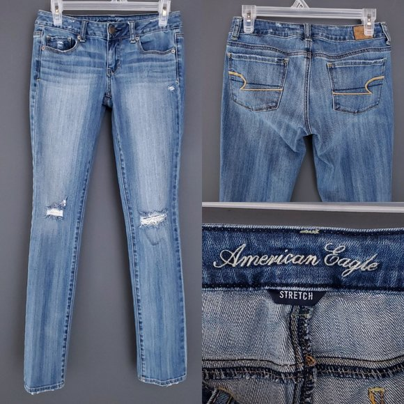 AMERICAN EAGLE Skinny Jeans Distressed Stretch Low